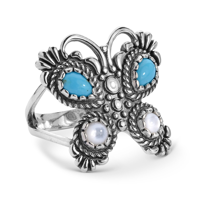 Sterling Silver Turquoise Mother of Pearl Butterfly Ring Size 5 to 10
