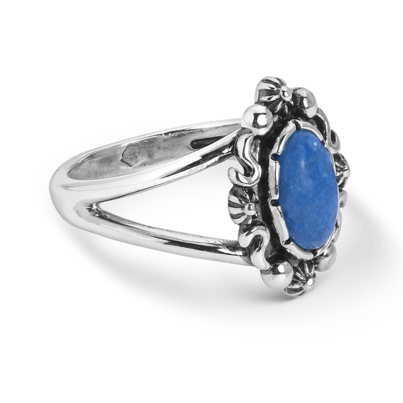 Sterling Silver Denim Lapis Gemstone Oval Ring Size 5 to 10