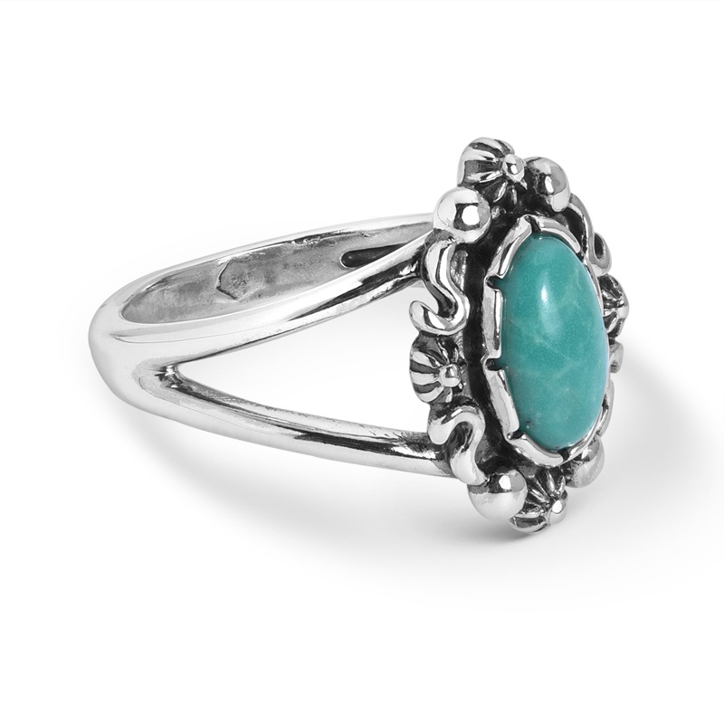 Sterling Silver Green Turquoise Gemstone Oval Ring Size 5 to 10