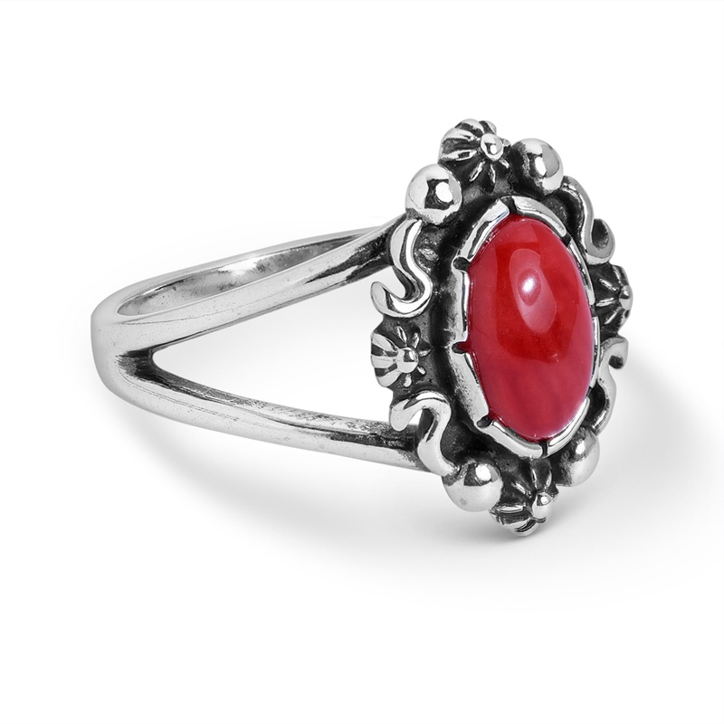 Sterling Silver Red Coral Gemstone Oval Ring Size 5 to 10