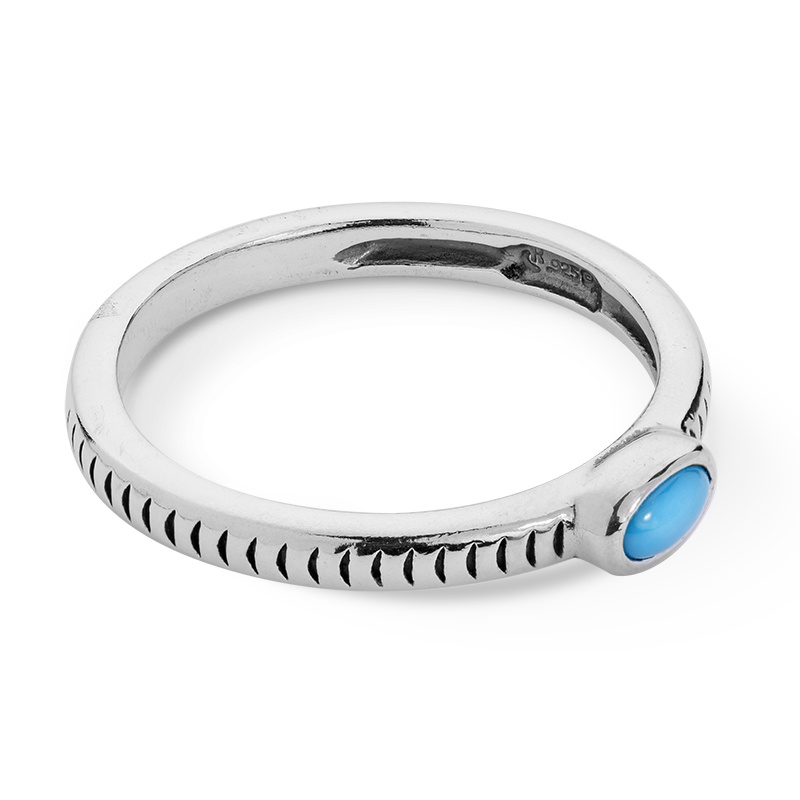 Sterling Silver Blue Turquoise Stack Ring