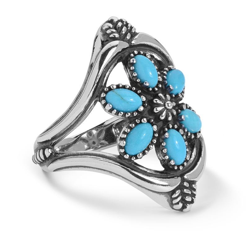 Sterling Silver Turquoise Gemstone Cluster Ring Size 5 to 10