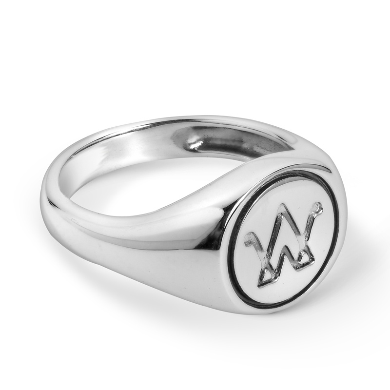 Sterling Silver AW Signet Logo Ring Size 5 to 10