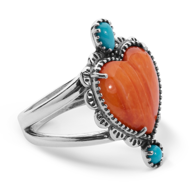 Sterling Silver Orange Spiny Oyster and Turquoise Heart Concha Style Ring Size 5 to 10