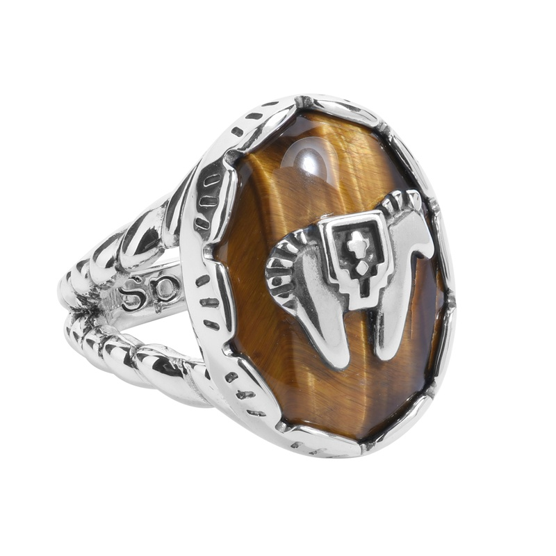 Sterling Silver Golden Brown Tiger Eye Gemstone Horse Rope Accent Ring Size 5 to 10
