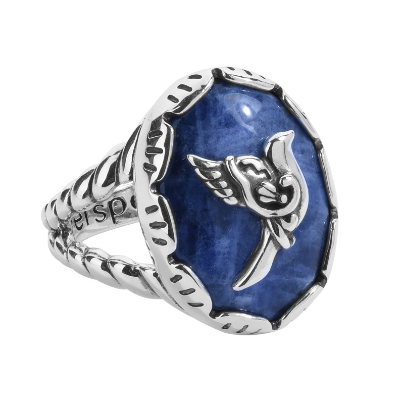 Sterling Silver Blue Sodalite Gemstone Bird Rope Accent Ring Size 5 to 10