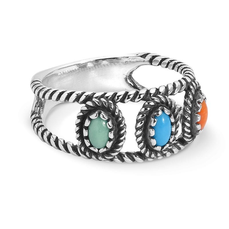 Sterling Silver Blue Turquoise, Green Variscite and Orange Spiny Gemstone Band Ring Size 5 to 10