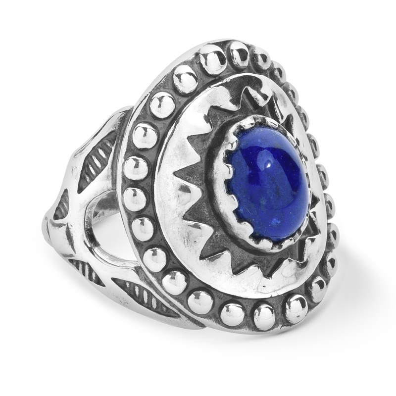 Sterling Silver Blue Lapis Gemstone Ancient Wisdom Ring Size 5 to 13