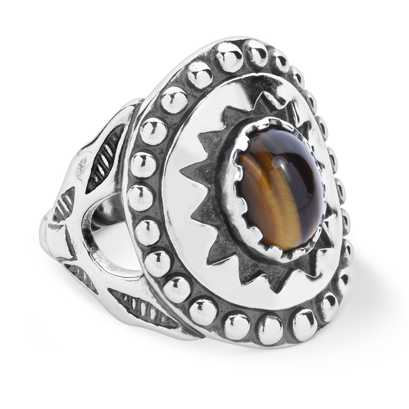 Sterling Silver Tiger's Eye Gemstone Ancient Wisdom Ring Size 5 to 13