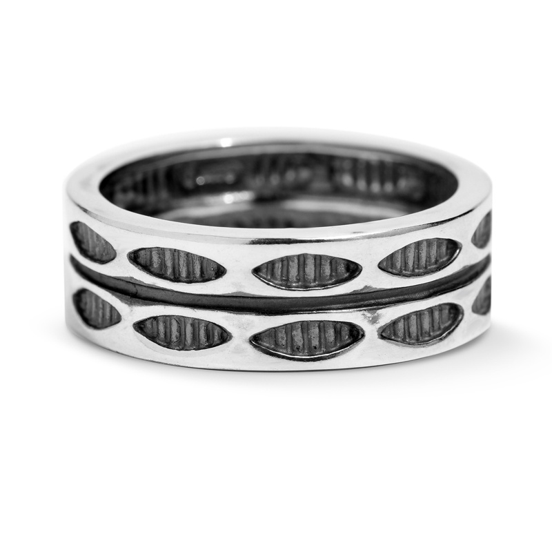 Sterling Silver Bared Marquise Double Row Band Ring Size 5 to 13