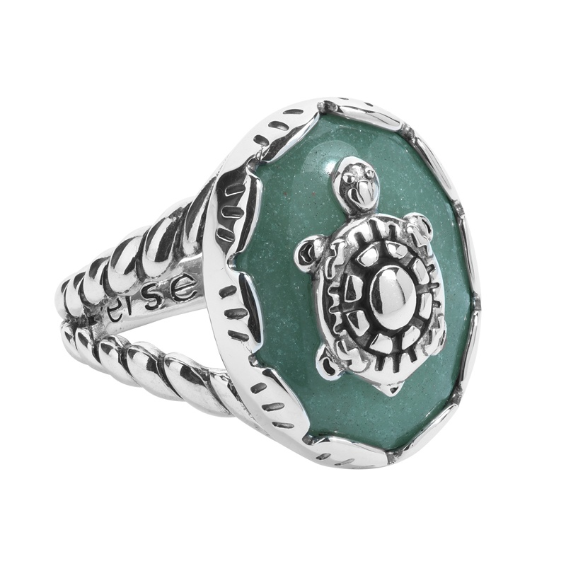 Sterling Silver Green Aventurine Gemstone Turtle Rope Accent Ring Size 5 to 10