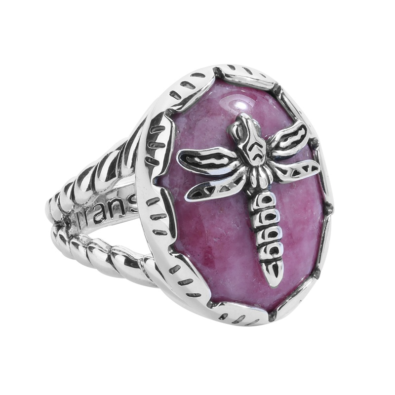 Sterling Silver Pink Rhodonite Gemstone Dragonfly Rope Accent Ring Size 5 to 10