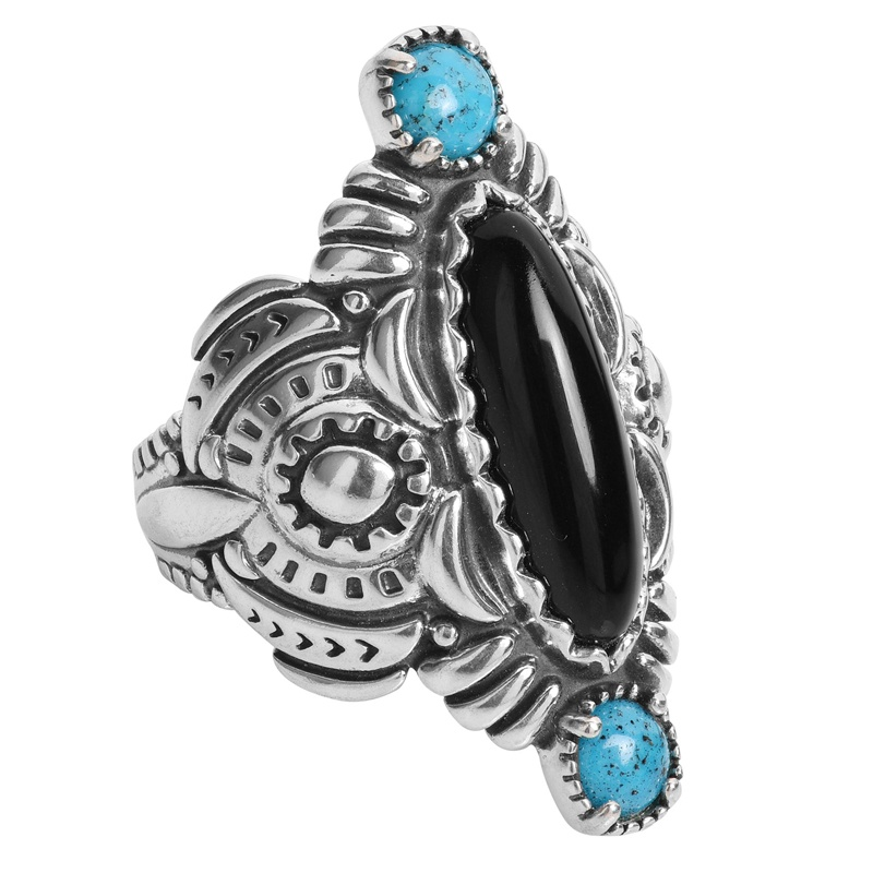 Sterling Silver Black Agate and Blue Turquoise Repousse' Style Ring Size 5 to 10