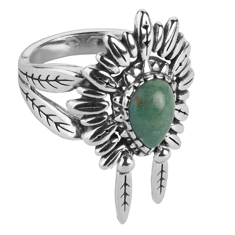 Sterling Silver Green Turquoise Gemstone with Articulating Feathers, Chief Headdress Ring Size 5 to 10