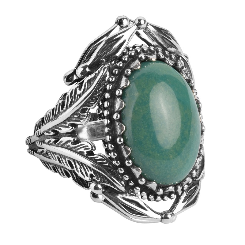 Sterling Silver Green Turquoise Gemstone Statement Ring Sizes 5 to 10
