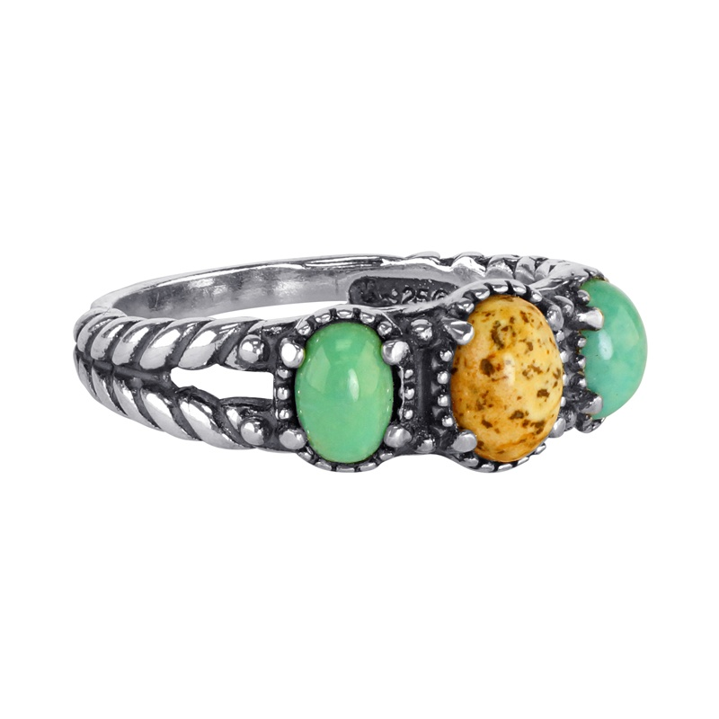 Sterling Silver Picture Jasper and Green Turquoise Gemstone 3-Stone Ring Sizes 5 to 10