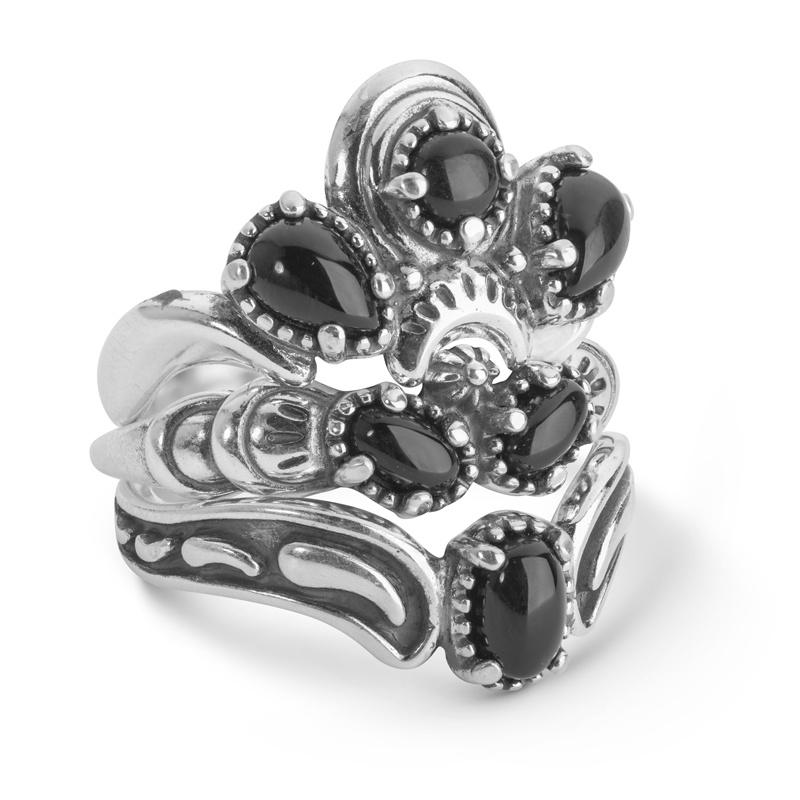 Luna Mixed Metal & Black Agate Three Piece Ring Set