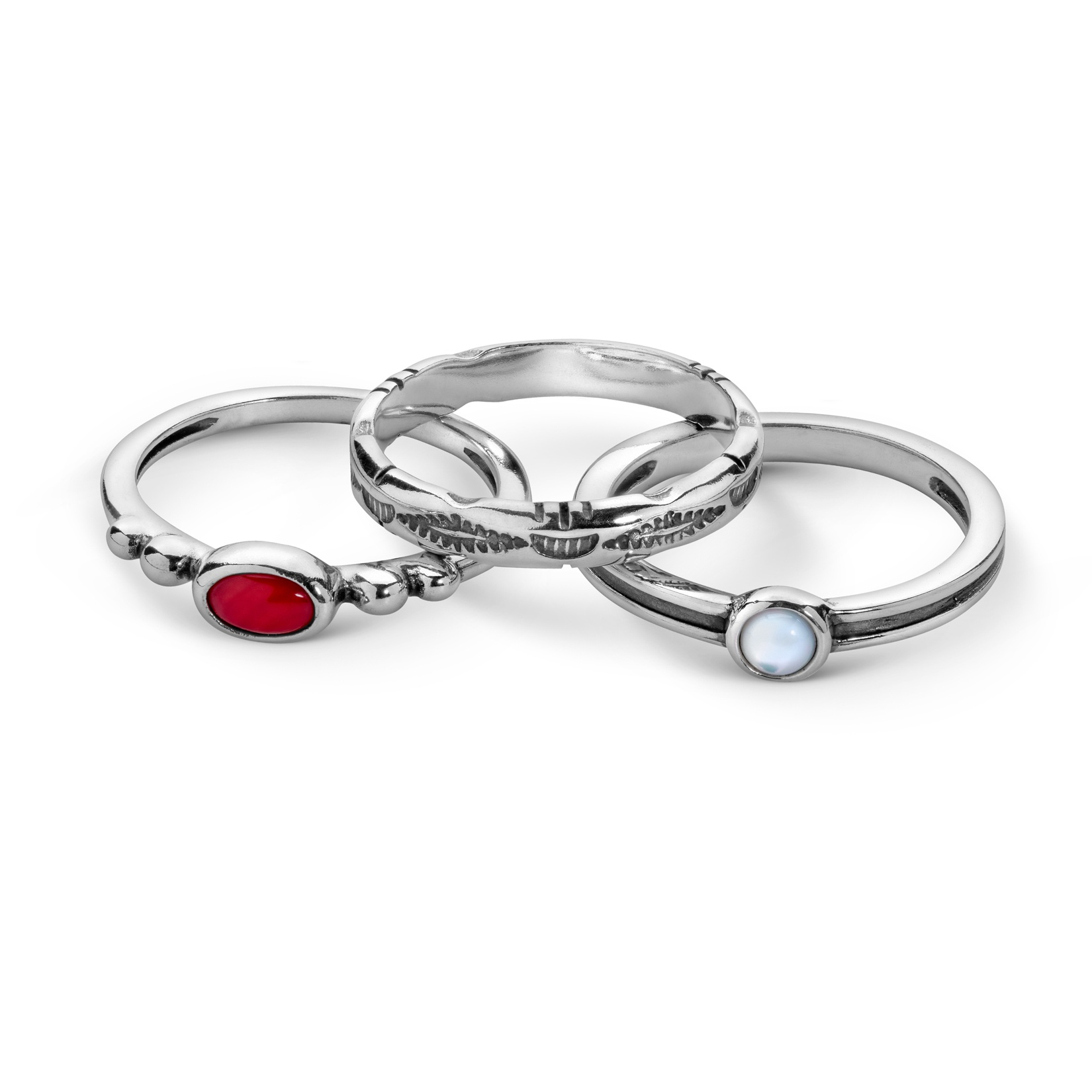 Sterling Silver, Red Coral, White Mother of Pearl 3 Piece Ring Set Size 5 to 10