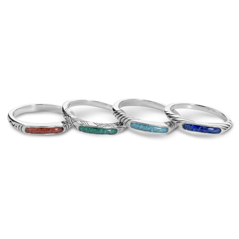 925 Silver Gemstone Chip Inlay Set of 4 Stacking Rings with 4 Colors