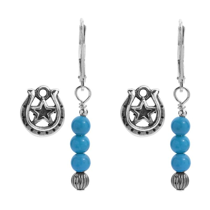 Earth Spirit Sterling Silver Turquoise Bead & Horseshoe Charm Earring Set
