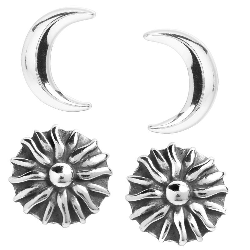 Sterling Silver Sun & Moon Stud Earring Set of 2