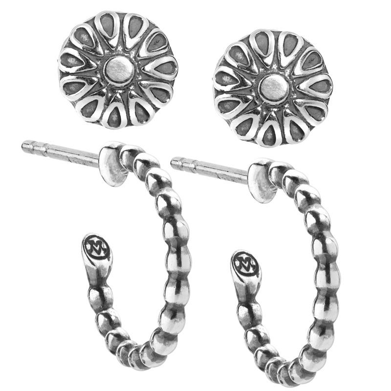 Sterling Silver Hoop Native Pearl Stud Earring Set of 2
