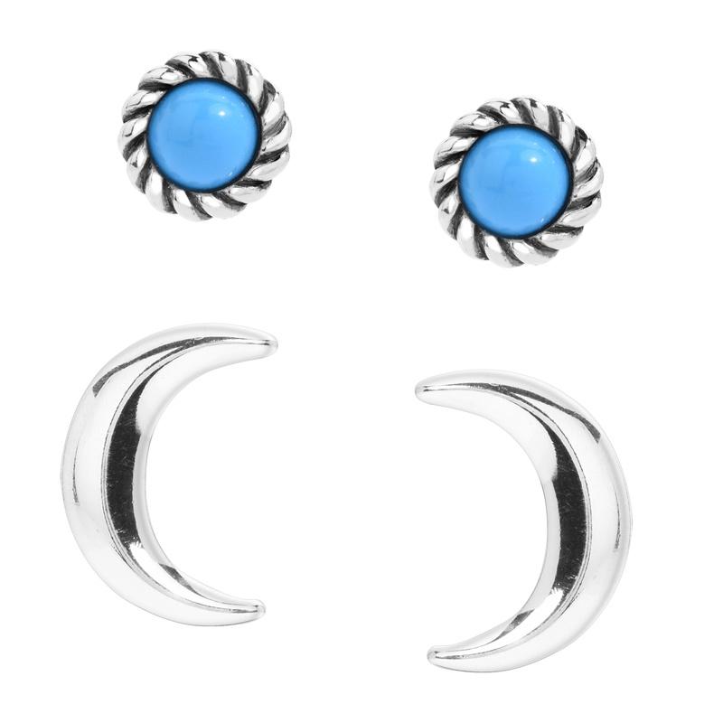 Sterling Silver Blue Turquoise Gemstone Stud Moon Stud Earrings Set of 2