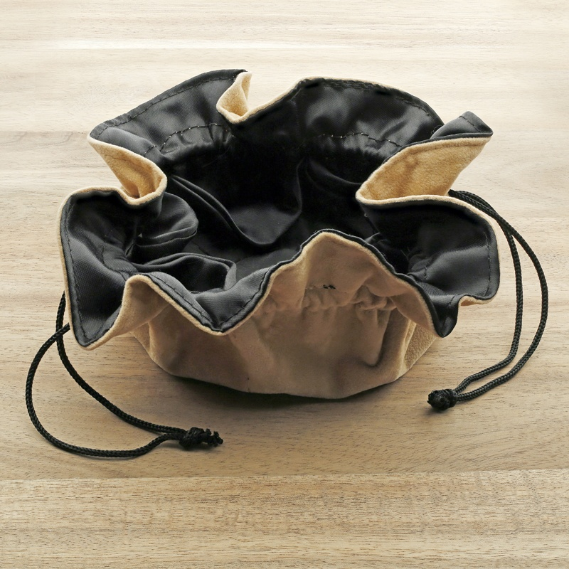 Tan Suede-Style 6-Pocket Travel Pouch
